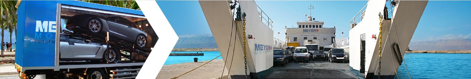 Beeldtransportafbeelding met voertuigtransporter en auto's die op een boot worden verscheept.